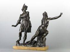 This bronze figure group illustrates an episode from Ariosto's Orlando Furioso in a very dramatic manner.Attributed to Ferdinando TACCA (Florence, 1619 - Florence, 1686)  Ruggiero and Angelica  Second half of 17th century  Florence