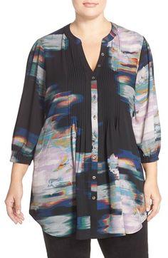 Melissa McCarthy Seven7 Print Tie Waist Pintuck Blouse (Plus Size)