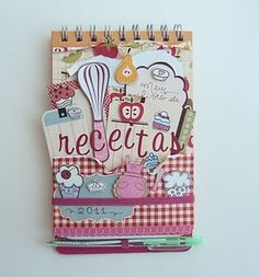 mini album.  Notebook recipes. Cuaderno de cocina. Libro alterado.