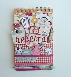 mini album.  Notebook recipes. Cuaderno de cocina. Libro alterado.