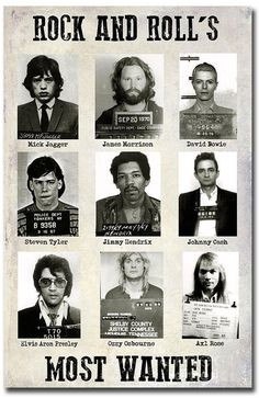 Rock And Rolls Most Wanted Fridge Magnet Size x Rock Band Posters, Rock Poster, Punk Rock Quotes, Celebrity Mugshots, Music Film, Music Music, Music Love, Classic Rock, Music Bands