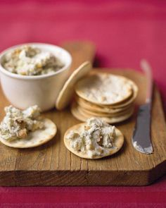 Blue Cheese and Walnut Spread: Ingredients: bar of cream cheese, room temperature cup walnuts, chopped Coarse salt and ground pepper 4 ounces cup) cold crumbled blue cheese, such as Stilton Crackers or crostini, for serving Easy Potluck Recipes, Make Ahead Appetizers, Vegetarian Appetizers, Thanksgiving Appetizers, Holiday Appetizers, Appetizer Recipes, Dip Recipes, Thanksgiving Feast, Recipies