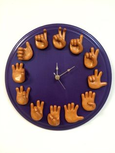 Etsy Sign Language Clock - Handmade ASL Clock - Telling Time - Classroom Clock - Educational Tool - ASL Numbers - Unique Clock - Gift for Teacher Sign Language Alphabet, American Sign Language, Alphabet Signs, Classroom Clock, Math Clock, Classroom Hacks, Wall Clock Design, Clock Wall, Wall Art
