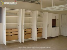 We're Organized servicing Oregon, Washington and Florida produces quality construction of garage cabinets and closet systems. At We're Organized we use only the finest materials making us a leading manufacturer of garage cabinet storage systems. Garage Storage Cabinets, Diy Garage Storage, Garage Shelving, Garage Shelf, Garage House, Storage Ideas, Garage Doors, Garage Workbench, Ikea Cabinets