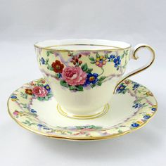 Aynsley Tea Cup and Saucer with Flowers Vintage Bone China Tea Cup Set, My Cup Of Tea, Cup And Saucer Set, Tea Sets, Tea Cup Saucer, Pretty Flowers, Rose Flowers, Purple Roses, Cute Tea Cups
