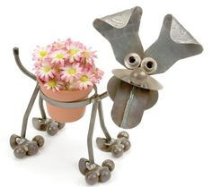 Happy Puppy Pot Holder $45.00 - A fun way to show off your blooms!