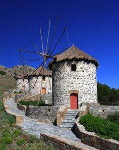 Old windmills in Limnos island, Greece Mykonos, Santorini, Beautiful Islands, Beautiful World, Beautiful Places, Samos, Old Windmills, Le Moulin, Greece Travel