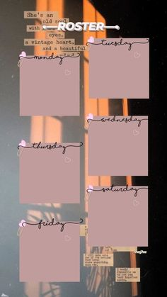 Aesthetic Iphone Wallpaper, Aesthetic Wallpapers, Weekly Planner Template, Schedule Templates, Bullet Journal Lettering Ideas, Schedule Design, Instagram Frame Template, Blog Fotografia, Photo Collage Template