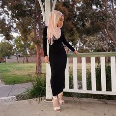 Black maxi dress with blush sandals and hijab, little to tight - check out: Esma <3