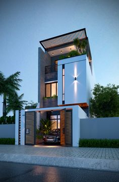Nhà phố 5x20 on Behance Small House Exteriors, Modern House Facades, Modern Exterior House Designs, Dream House Exterior, Exterior Design, House Outer Design, House Outside Design, Unique House Design, House Front Design