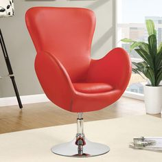 Dansk Swivel Chair   Modern Red Chair   Smooth Curved Lines   Modern Living   Eurway