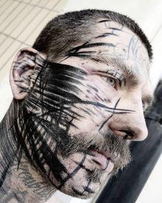 Master of Brutality: The Transformative Tattoos of Valerio Cancellier Bum Tattoo, Full Body Tattoo, Face Tattoos, Hot Tattoos, Tatoos, Grunge Tattoo, Dark Art Tattoo, Tattoo Fails, Blackwork