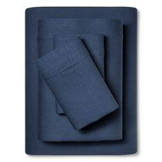 Linen Blend Sheet Set (Cal King) Metallic Blue - Threshold