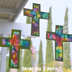 """EASTER <3 KIDSTUFF: Stained Glass Cross (Made these with my daughter when she was little. It was such a simple craft and fun to do - made great Easter """"gifts"""" for the fam, and looked beautiful in the window! Just tissue paper and glue and VOILA!)"""
