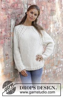 White Willow Knitted Sweater With Raglan In Drops Air And Drops