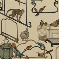 Menagerie Velvet Fabric An exquisite printed velvet fabric with a whimsical design of bird cages, rabbits and clambering monkeys, shown in celadon, orange and brown on a parchment ground.