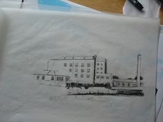 The West Mill at Darley Abbey - work in progress; sketch; pen and ink; illustration
