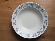 """Soviet Vintage Plate; ZiK Konakovo Faience Factory Plate; Classic White Plate with Blue Flowers; 9.5""""/ 24cm Large Soup Plate made in USSR"""