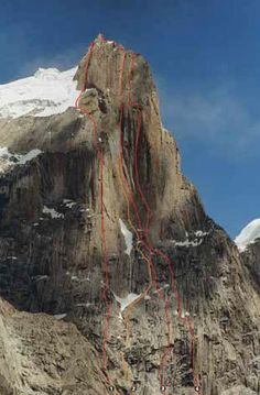 GREAT TRANGO TOWER, NORTHWEST FACE - he upper half of the Great Trango Tower's northwest face, showing:  2.Lost Butterfly (VII 5.10 A4+, Berecz-Nadaski-Tivadar, 1999; joined Parallel Worlds for ten pitches, but did not reach summit)