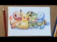 Turns out you can draw all four original starter pokémon with just three colored pencils【video】 Cute Drawings, Drawing Sketches, Pencil Drawings, Pokémon Kawaii, Cartoon Star Wars, Pichu Pokemon, Bulbasaur, Pokemon Sketch, Pokemon Tattoo