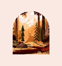 Forest Landscape Study designed by Matt Carlson. Connect with them on Dribbble; Art And Illustration, Graphic Design Illustration, Forrest Illustration, Nature Illustrations, Painting Inspiration, Art Inspo, Kunst Inspo, Forest Design, Affinity Designer