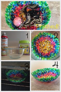 Cool & easy bowl to do with kids or teens as well! INSTRUCTIONS! Things you will need: - Glass oven safe bowl - cooking spray - Perler Beads; any craft stores Step 1: spray a layer of cooking spray in the bowl. Step 2: choose certain colours or choose by random and place them in the bowl but make sure it's ONE layer Step 3: Once you have the height for the bowl put it in the oven at 375 for approx 12-14 mins, keep a close eye on it Useful for sunglasses, keys, a candle (little bowl) !