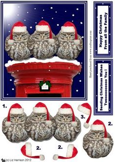3 little Owls on a Christmas Postbox 3D decoupage on Craftsuprint designed by Liz Harrison - make a fun card for Christmas with these cute little owls with christmas hats  - Now available for download!