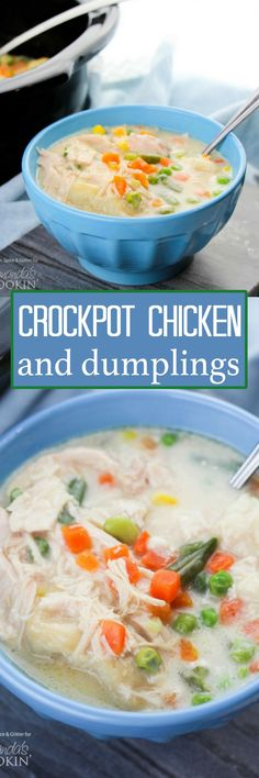 Crockpot Chicken and Dumplings (video) This crockpot chicken and dumplings recipe is creamy, hearty and delicious with a to-die-for gravy and the perfect balance of protein and vegetables. Crock Pot Slow Cooker, Crock Pot Cooking, Slow Cooker Chicken, Slow Cooker Recipes, Cooking Recipes, Crockpot Recipes, Crockpot Dishes, Bacon Recipes, Chicken Recipes