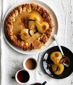 Ricotta maple tart with roast pears recipe :: Gourmet Traveller