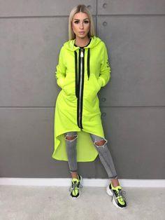 Neonová žltá asymetrická mikina Rain Jacket, Windbreaker, Neon, Jackets, Fashion, Down Jackets, Moda, Fashion Styles, Neon Colors