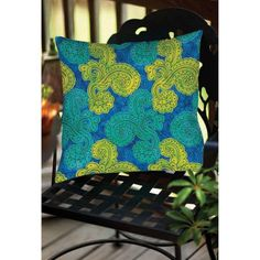 Thumbprintz Funky Florals Paisley Royal Blue Indoor/Outdoor Pillow