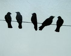 black and white birds on a wire acrylic painting by cabinandmoss