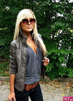Cardigan as main layer, with leather! cute! Love this look!