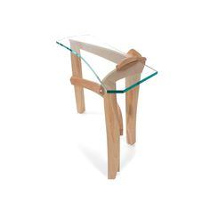 """Curved Glass Hall Table by Nico Yektai - Steam bent Maple curves connect the three legs of this sculptural entryway table. The back leg rises above the tables surface embracing the 3/4"""" thick glass top."""