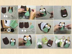 Faça Você Mesmo - Chaveiro do coruja com feltro Retalhos de tecidos coloridinhos ajudam muito!!