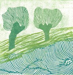 Linocut print by Margaret Rankin, Canadian artist. I like the contoured cuts which remind me of the way painters use directional brushstrokes.