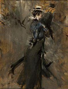 Lady Wearing a Straw Bonnet (Morning Promenade) - Giovanni Boldini
