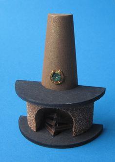 Kamin halbrund mit Rauchfang für Puppenhaus Wohnzimmer - beleuchtet