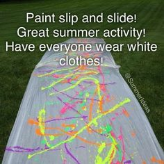 For Teens - Paint Slip N Slide - Fun activities in the summer to do with friends or family - Activities For Kids, Crafts For Kids, Sleepover Activities, Best Friend Activities, Outdoor Summer Activities, Youth Group Activities, Group Games, Slip N Slide, Summer Vibe