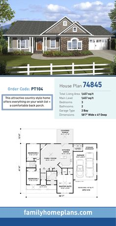 Country House Plan 74845 | Total Living Area: 1,457 SQ FT, 3 bedrooms and 2 bathrooms. This attractive country style home offers everything on your wish list + a comfortable back porch. #countryhome