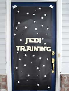 """The kids were greeted at the door by this sign, made with star punches taped to black wrapping paper. I used my silhouette machine to cut out the letters."""