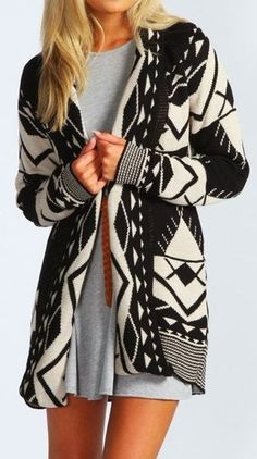Black and White Aztec Cardigan With Grey Dress