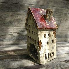 Domek ceramiczny na świeczkę ⋆ Wylepianki ⋆Hand built ceramic house - tealight holder.