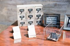 A card catalog guest book. Genius. Photography by picotteweddings.com
