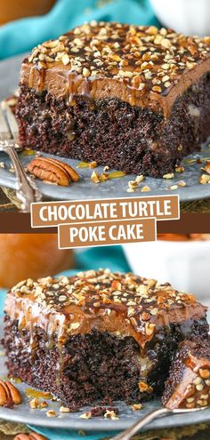 This Chocolate Turtle Poke Cake is a moist chocolate cake soaked with caramel sauce and topped with caramel chocolate frosting and chopped pecans! It's a delicious poke cake recipe made completely from scratch! Poke Cake Recipes, Cake Recipes From Scratch, Cupcake Recipes, Baking Recipes, Cupcake Cakes, Dessert Recipes, Turtle Poke Cake Recipe, Poke Recipe, Cupcakes