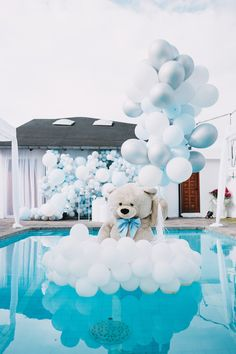 Kara's Party Ideas Little Bear Baby Shower Boy Baby Shower Themes, Baby Shower Balloons, Baby Shower Parties, Baby Boy Shower, Baby Showers, Splash Party, Balloon Installation, Balloon Backdrop, Free Baby Shower Printables