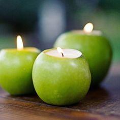 Apple candles for my teacher/school theme.
