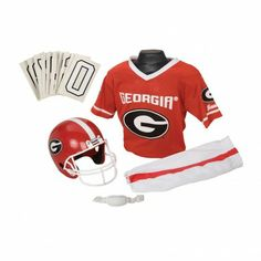 College Football Deluxe Uniform Set - Georgia - Pass along the college football tradition to your young fan with this official College Football Deluxe Uniform Set. Included is an official team jersey, team helmet with authentic logo and team colors, and team pants that will have them looking ready to take the field. The set also includes iron-on numbers (0-9) for the back of the jersey. - See more at: http://franklinsports.com/shop/college-deluxe-uniform-set