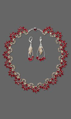 Single-Strand Necklace and Earring Set with SWAROVSKI ELEMENTS and Silver-Plated Brass Findings