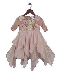 Look at this #zulilyfind! Blush Rosette Chiffon Handkerchief Dress - Girls by Joe-Ella #zulilyfinds